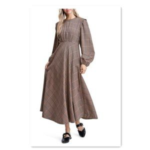 en saison Plaid Maxi Dress Long Sleeve